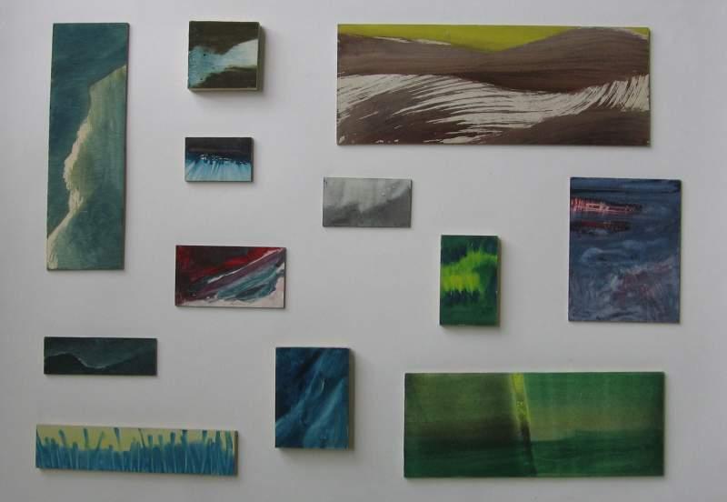 Overzicht, 2012, verschillende formaten, variërend van 5-41 cm, ei tempera op paneel