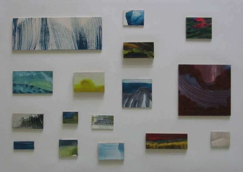 Overzicht, 2012, verschillende formaten, variërend van 5-35 cm, ei tempera op paneel