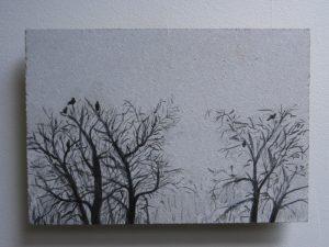 Verkocht: Vogels in bomen, 2017, 14,5x21 cm, ei tempera op paneel