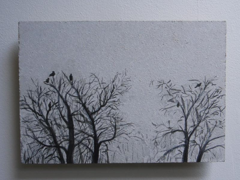 Vogels in bomen, 2017, 14,5x21 cm, ei tempera op paneel - Verkocht