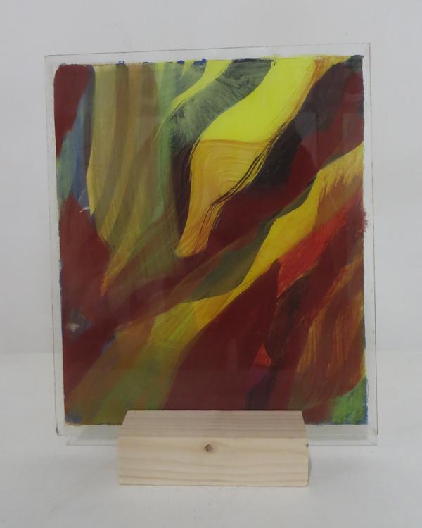 Z.t., 2018, 22,3x26,5 cm, silicaatverf op glas