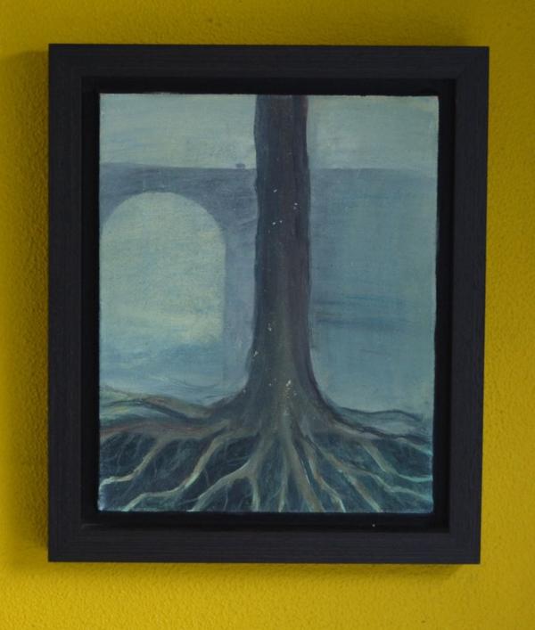 Brug, 2011, 23,5x29,5 cm, ei tempera op doek - Verkocht