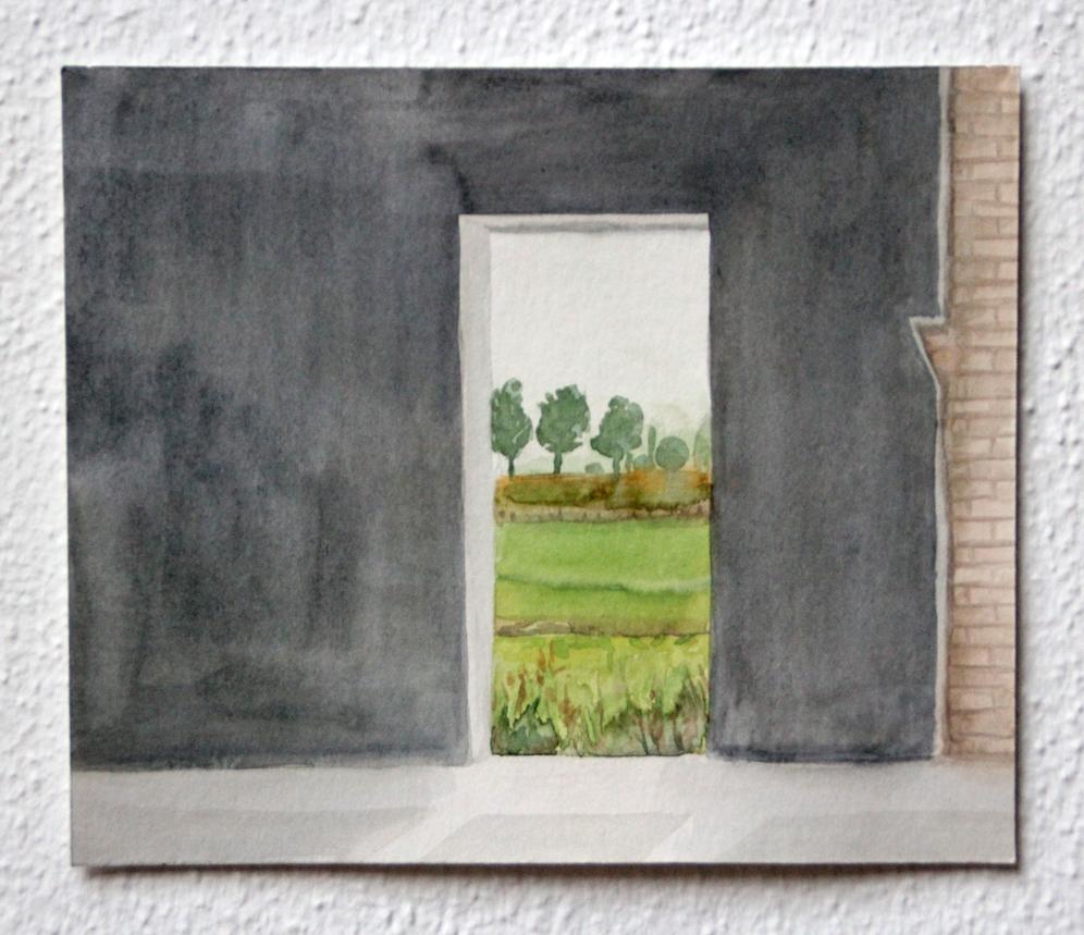 Doorkijkje #1, 2020, 16x19 cm, aquarel op papier