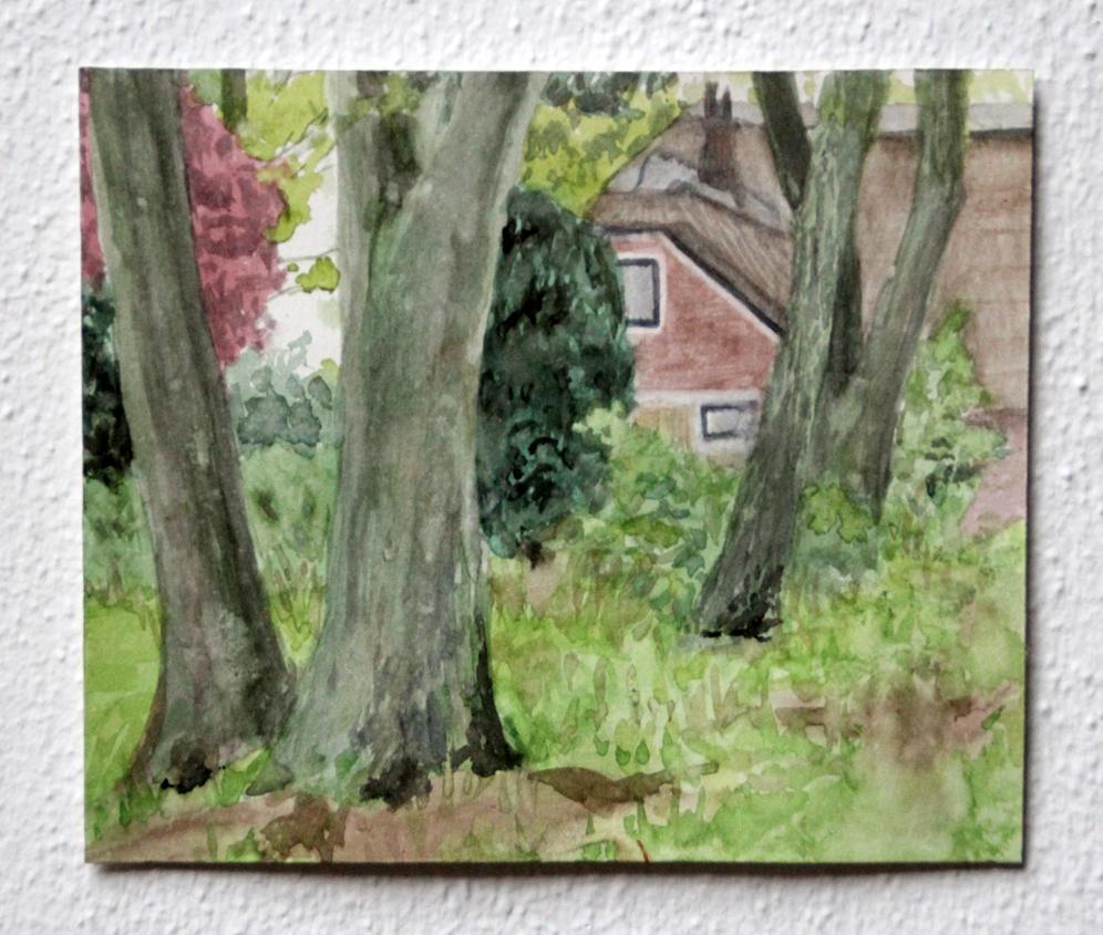 Achter de bomen, 2020, 16x19 cm, aquarel op papier