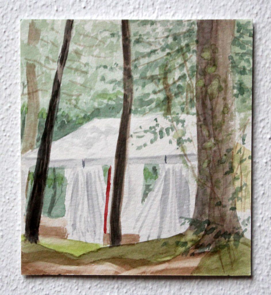 Omgeven #2, 2020, 17,3x19 cm, aquarel op papier