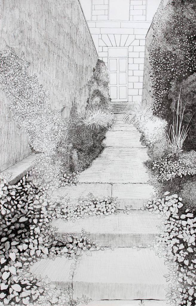 Natuurtijd, 2020, 44,9 x 70 cm, fineliner op papier
