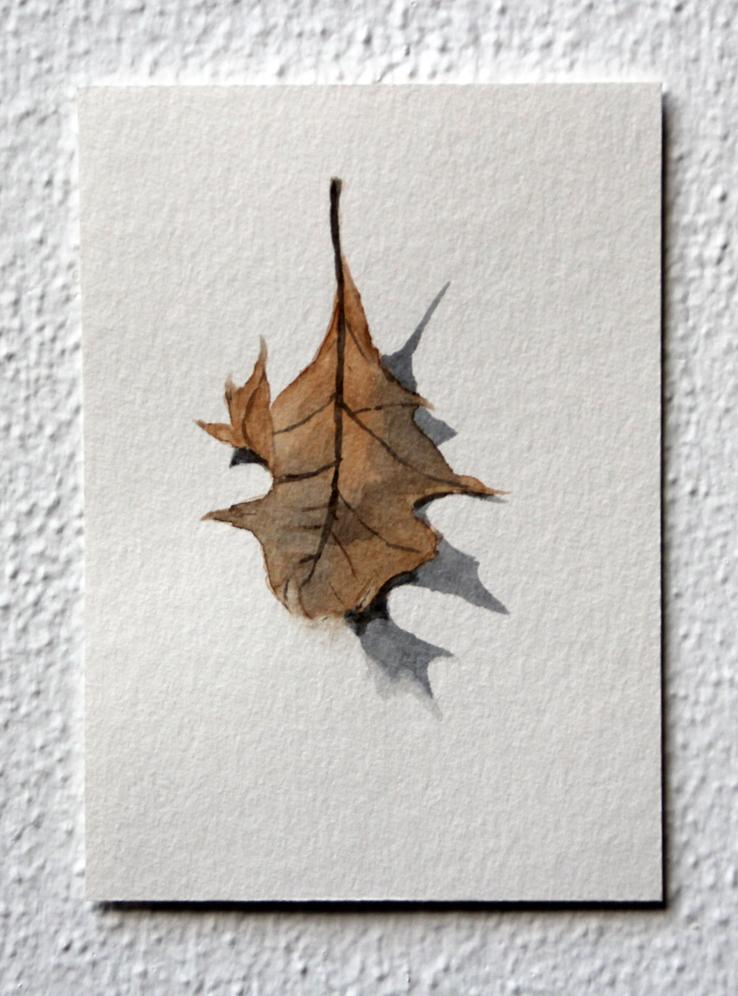 Gekruld, 2020, 10,5x14,8 cm, aquarel op papier